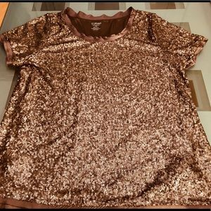 Copper penny sequined t-shirt type top